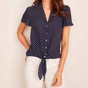 Ann Taylor Polka Dot Tie Shirt